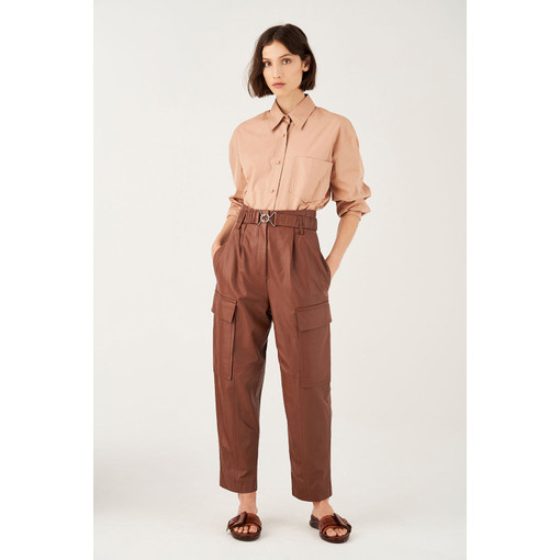 Oroton Leather Belted Paper Bag Waist Pant in Rich Cocoa and 100% Leather for female