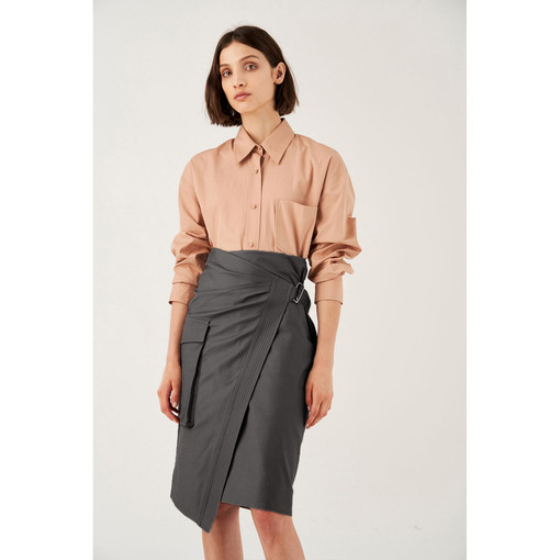 Oroton Cotton Stretch Zip Detail Pencil Skirt in Midnight Charcoal and 97% Cotton 3% Elastane for female