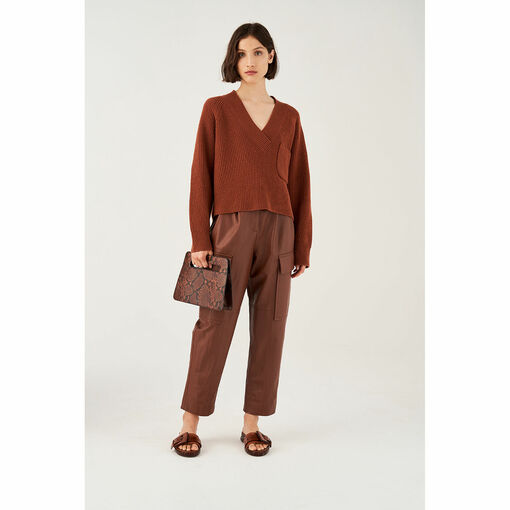 Oroton Wool V-Neck Rib Knit Sweater in Rich Cocoa and 100% Wool for female