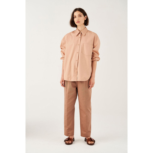 Oroton Poplin Long Sleeve Pocketed Shirt in Blush and 100% Cotton for female