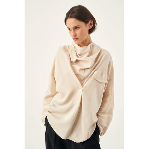 Oroton Silk Tab Detail Long Sleeve Shirt in Almond and 100% Silk for female