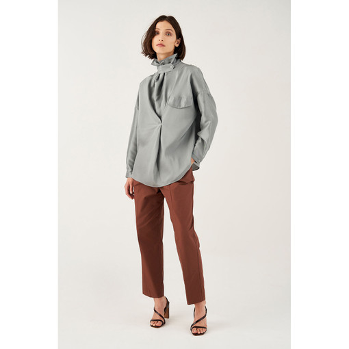 Oroton Silk Tab Detail Long Sleeve Shirt in Pewter and 100% Silk for female