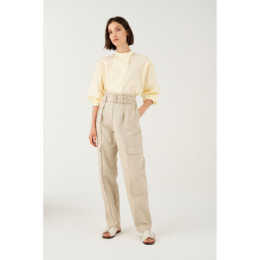 Oroton Belted Cotton Pant in Vanilla and 100% Cotton for female