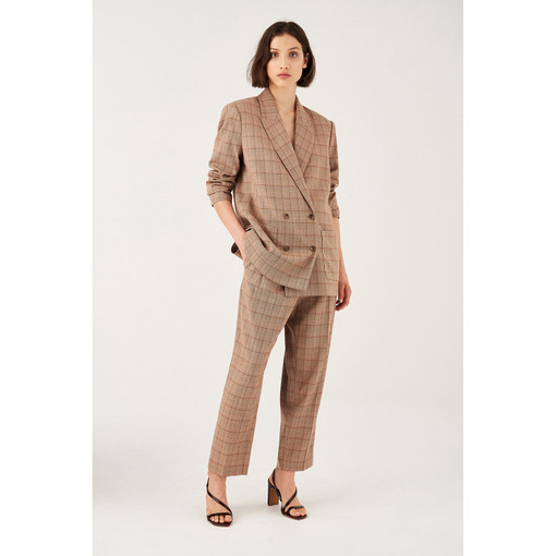 Oroton Wool Blend Double Breasted Check Blazer in Latte Check and 52% Wool 46% Viscose 2% Elastane for female