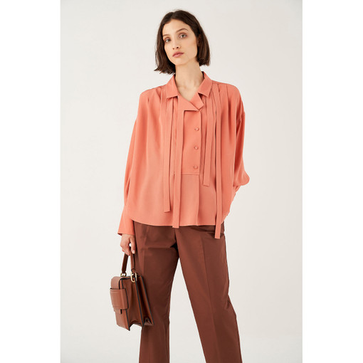 Oroton Silk Tie Detail Shirt in Quince and 100% Silk for female