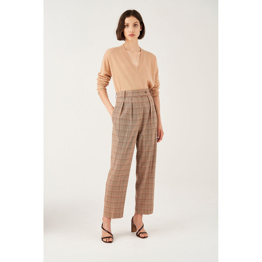 Oroton Wool Blend Check Tab Detail Pant in Latte Check and 52% Wool 46% Viscose 2% Elastane for female