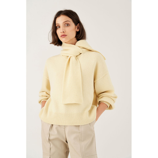 Oroton Tie Neck Knit in Lemon and 100% Wool for female