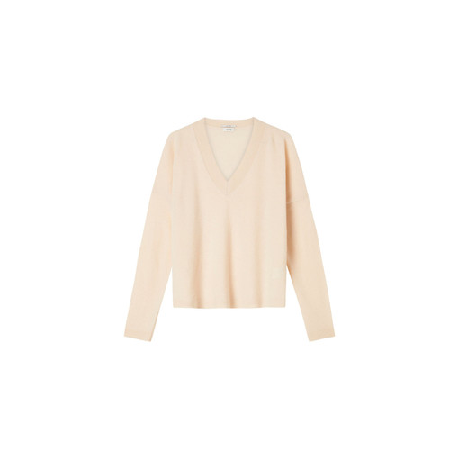 Oroton Fine Gauge V-Neck Knit in Almond and 100% Wool for female