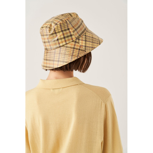 Oroton Frida Coated Bucket Hat in Straw Check and 67% Cotton 33% Linen, 100% PU Coating for female