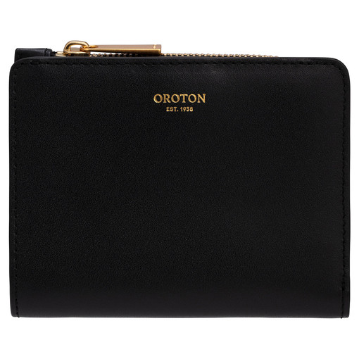 Oroton Taya Mini Fold Wallet in Black and Smooth Leather for female
