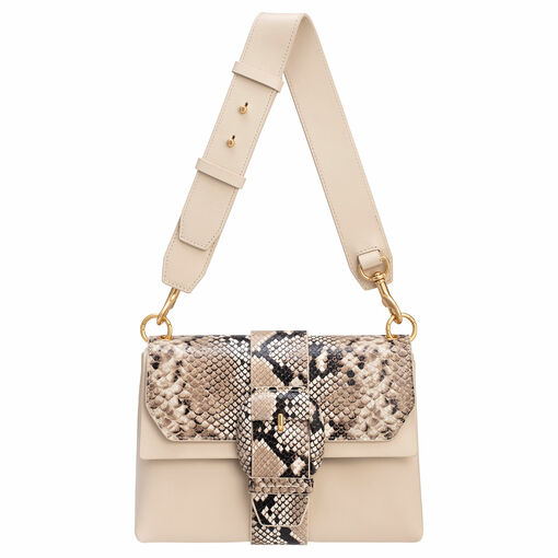 Oroton Frida Texture Medium Satchel in Cashew and Italian Snake Emboss Leather/ Smooth Leather for female