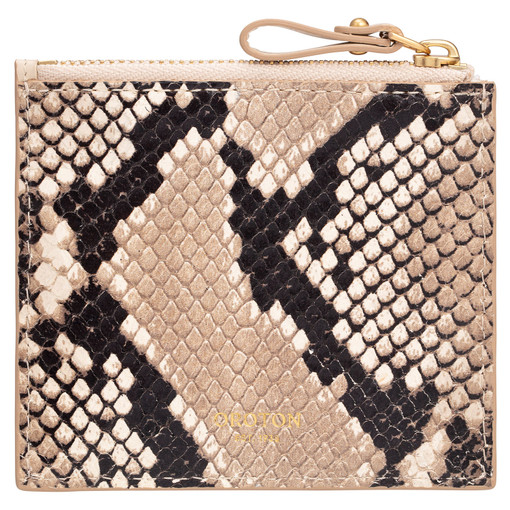 Oroton Frida Texture 3 Credit Card Zip Pouch in Cashew and Italian Snake Emboss Leather/ Smooth Leather for female