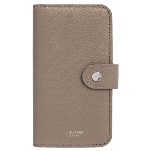 Oroton Lucy IPhone X 5 Credit Card Zip Wallet in Khaki Mist and Pebble Leather for female
