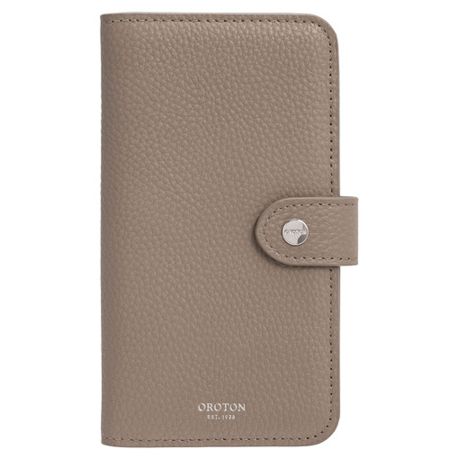 Oroton Lucy IPhone 11 Pro Max 6 Credit Card Zip Wallet in Khaki Mist and Pebble Leather for female