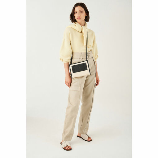 Oroton Svea Crossbody in Natural/Black and Natural Canvas/ Smooth Leather for female