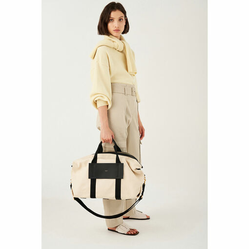 Oroton Svea Weekender in Natural/Black and Natural Canvas/ Smooth Leather for female