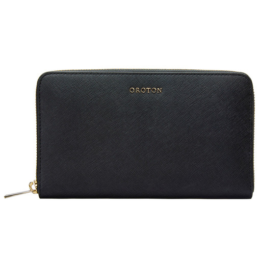 Oroton Maison Large Zip Around Wallet in Black and Saffiano for female
