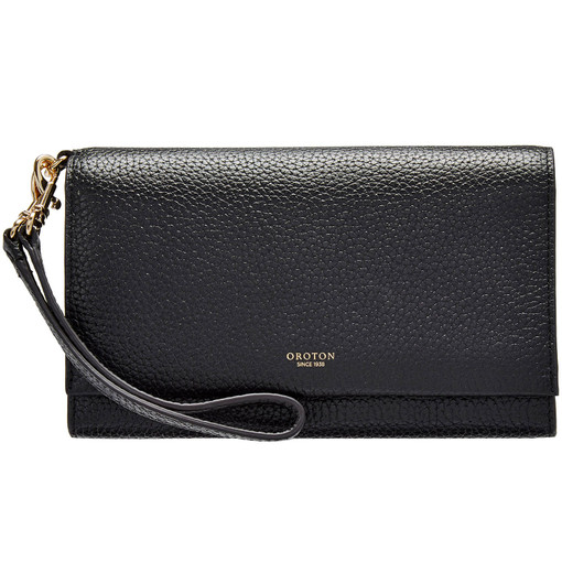 Oroton Avalon Clutch Wallet And Pouch in Black and Pebble Leather for female