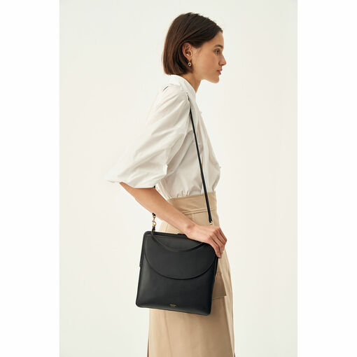 Oroton Etta Shoulder Bag in Black and Smooth Leather for female
