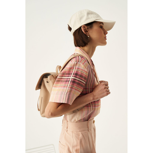 Oroton Duo Mini Backpack in Latte and Pebble Leather for female