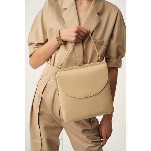Oroton Etta Shoulder Bag in Fawn and Smooth Leather for female