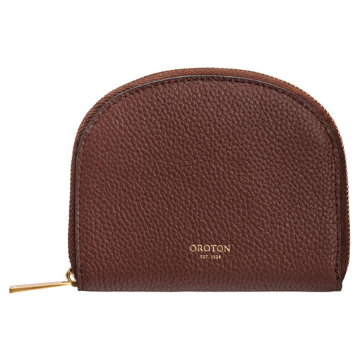 Oroton Daria Small Arc Wallet in Nutmeg and Pebble Leather for female