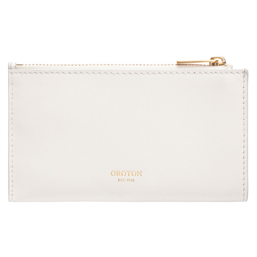 Oroton Cassia 8 Credit Card Zip Pouch in Clotted Cream and Smooth Leather for female
