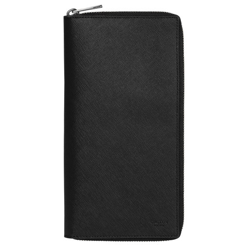 Oroton Eton Zip Travel Wallet in Black and Saffiano/Smooth Leather for male