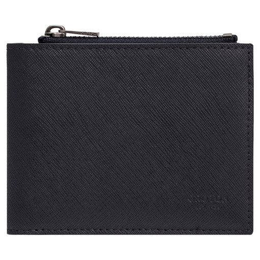 Oroton Eton 8 Card Zip Wallet in Ink and Saffiano/Smooth Leather for male