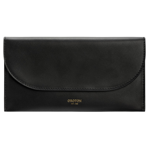 Oroton Etta Medium Continental Wallet in Black and Smooth Leather for female