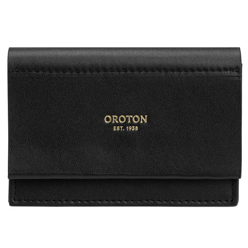 Oroton Evelyn Multi Gusset Card Holder in Black and Smooth Leather for female