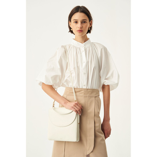 Oroton Etta Shoulder Bag in Cream and Smooth Leather for female