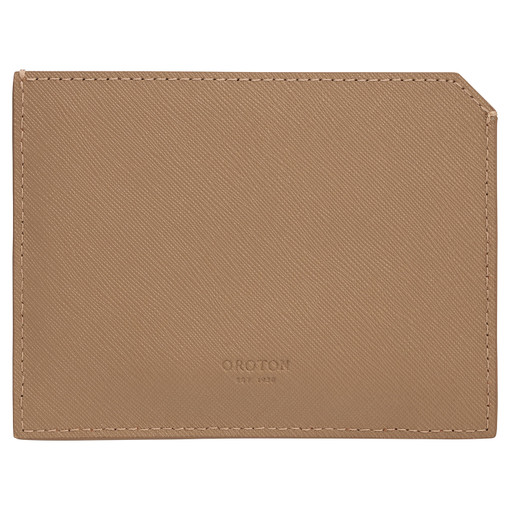 Oroton Eton 6 Card Sleeve in Khaki and Saffiano/Smooth Leather for male