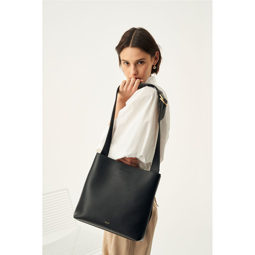 Oroton Daria Medium Hobo in Black and Pebble Leather for female