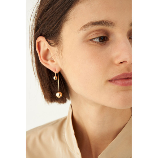 Oroton Blair Medium Drop Earring in Gold and Brass Base Metal With Precious Metal Plating for female