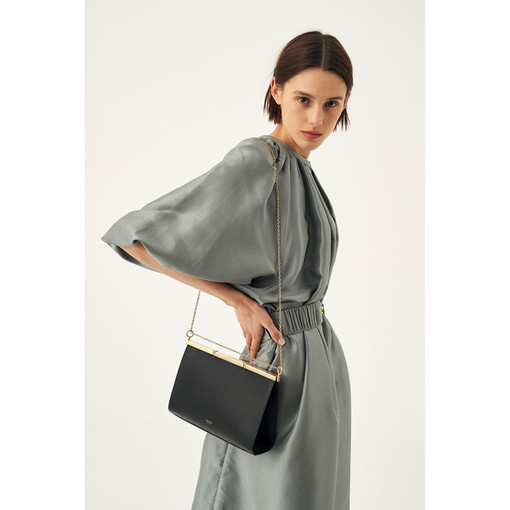 Oroton Cassia Medium Shoulder Bag in Black and Smooth Leather for female