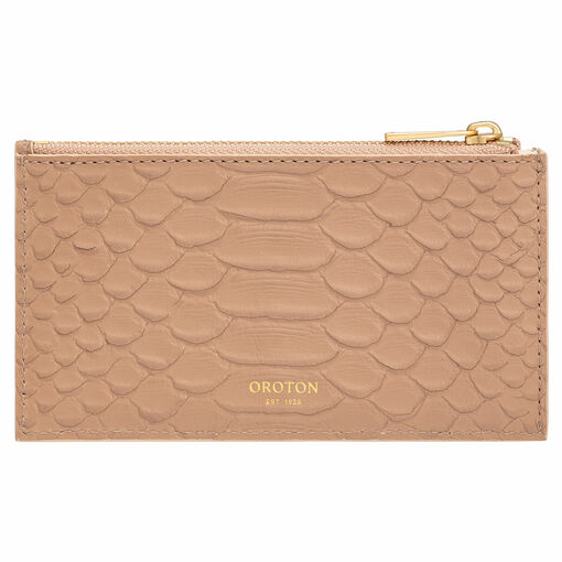 Oroton Cassia Texture 8 Credit Card Zip Pouch in Praline Texture and Snake Embossed Leather for female