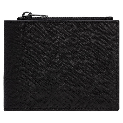 Oroton Eton 8 Card Zip Wallet in Black and Saffiano/Smooth Leather for male