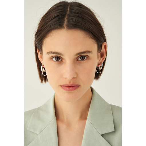 Oroton Brooklyn Double Hoops in Silver and Brass Base Metal With Precious Metal Plating for female