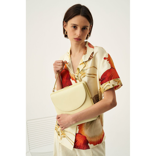 Oroton Etta Shoulder Bag in Lemon Curd and Smooth Leather for female
