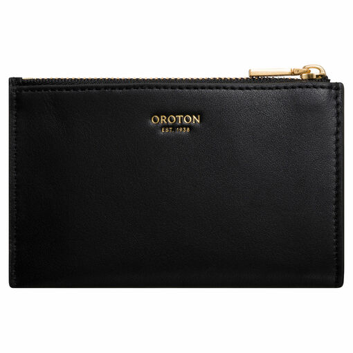 Oroton Hazel 4 Credit Card Mini Zip Wallet in Black and Smooth Leather for female