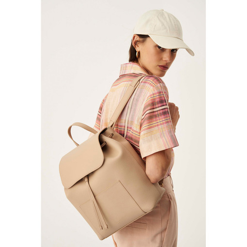 Oroton Duo Backpack in Latte and Pebble Leather for female