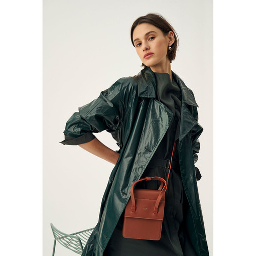 Oroton Evelyn Mini Day Bag in Rustic Brown and Smooth Leather for female