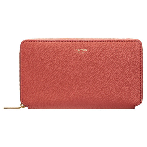 Oroton Duo Book Wallet in Faded Red and Pebble Leather for female