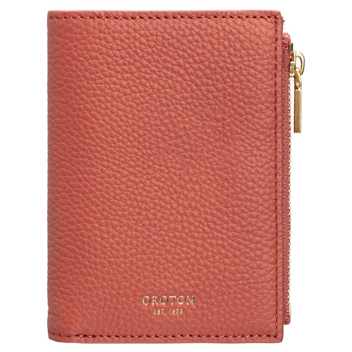 Oroton Duo Mini 10 Credit Card Zip Wallet in Faded Red and Pebble Leather for female
