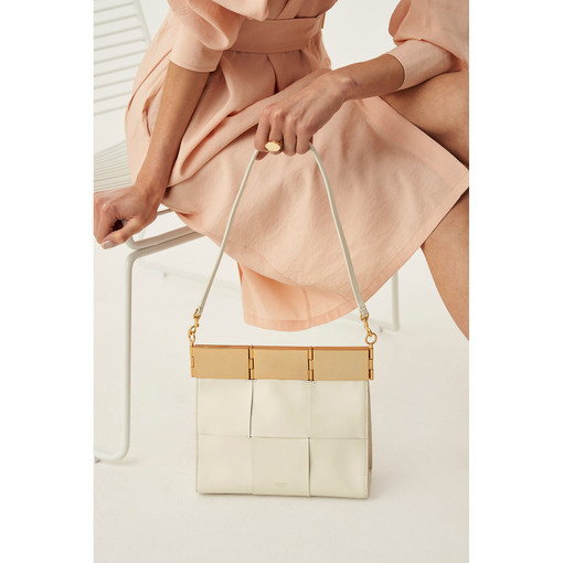 Oroton Cassia Woven Medium Bag in Cream and Smooth Leather for female