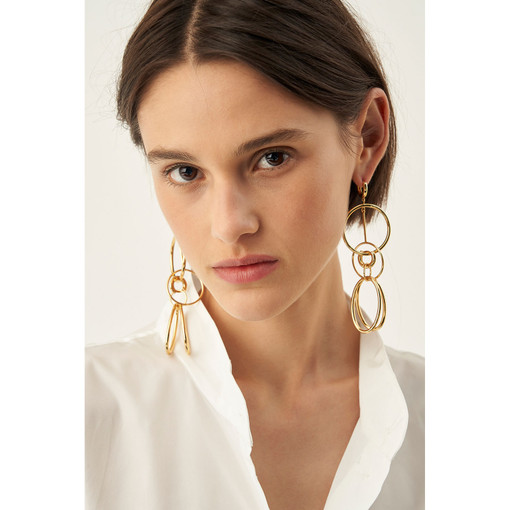 Oroton Brooklyn Large Earrings in Gold and Brass Base Metal With Precious Metal Plating for female