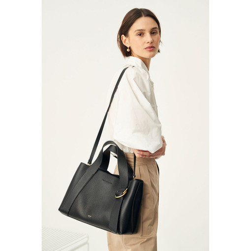 Oroton Daria Medium Day Bag in Black and Pebble Leather for female