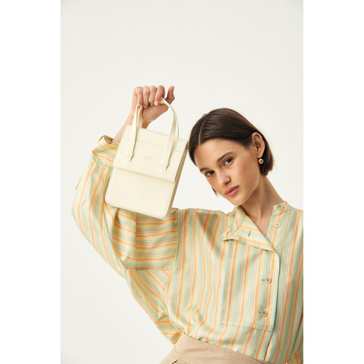 Oroton Evelyn Mini Day Bag in Pale Lemon Curd and Smooth Leather for female