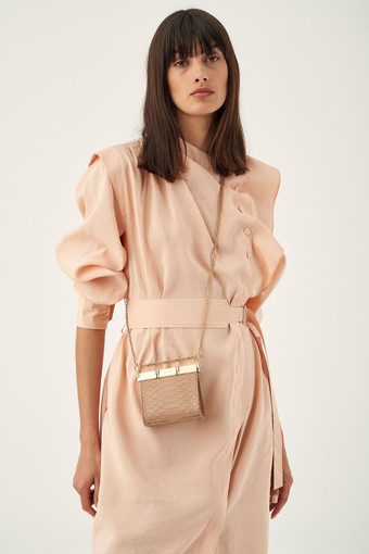 Oroton Cassia Texture Mini Crossbody in Praline Texture and Snake Embossed Leather for female